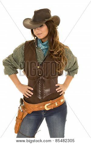 Cowgirl With Gun And Holster Hands On Hips