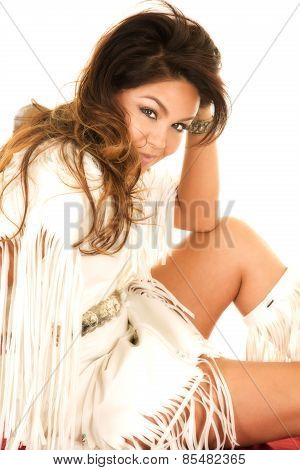 Native American Woman In White Close Hand By Head Knee Up
