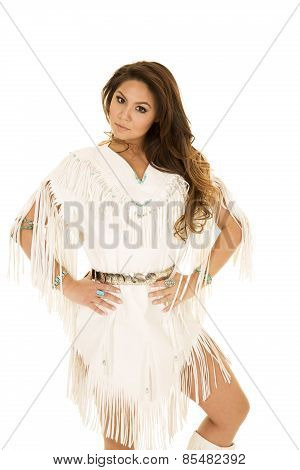 Native American Woman In White Hands On Hips