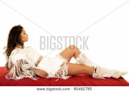 Native American Woman Lay Back On Red Sheet Knee Up