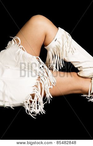 Native American Woman Legs White Fringe On Black