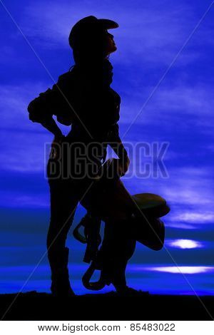 Silhouette Of Cowgirl Holding Saddle Side Look Up