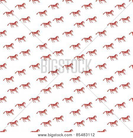 Abstract pattern with red horse made from ribbons Vector illustration