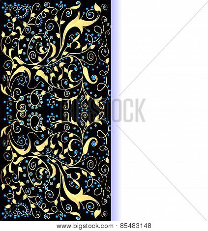 Background Gold Ornaments And Precious Stones With Space For Text