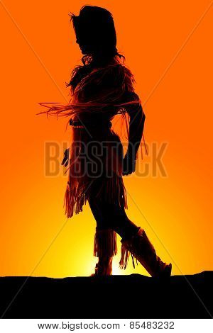 Silhouette Of Native American Woman Leg Back Dress Blowing