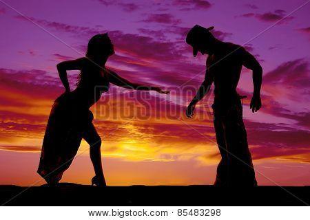 Silhouette Of Woman In Bikini And Sarong Lean Forward Side