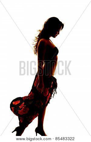 Silhouette Of Woman In Bikini And Sarong Side Look Down