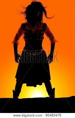 Silhouette Of Woman In Skirt Hands Down Hair Blowing