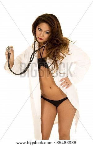 Woman Doctor In Bikini Open Jacket Holding Out Stethoscope Looking