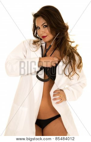 Woman Doctor In Bikini Open Jacket Listen To Heart