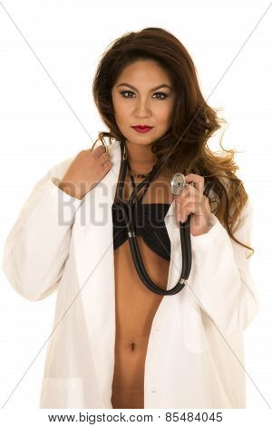 Woman Doctor In Bikini Open Jacket Serious With Stethoscope