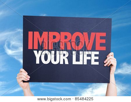 Improve Your Life card with sky background
