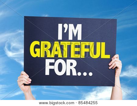 I'm Grateful For... card with sky background