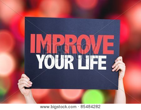 Improve Your Life card with bokeh background