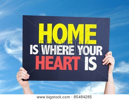 Home is Where Your Heart Is card with sky background