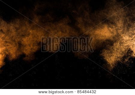 Abstract orange paint Holi.
