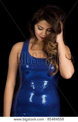 Woman In Shiny Blue Dress On Black Head Look Down
