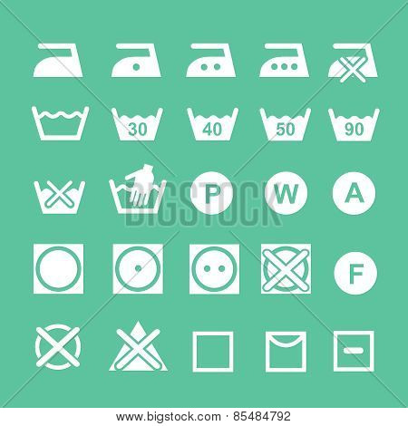 Set of washing   symbols Washing instruction symbols, white