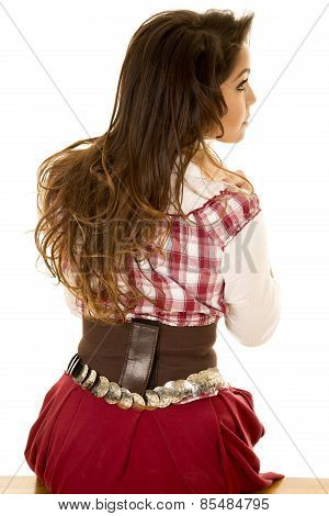 Woman Red Plaid Dress Back Sit Turn Head