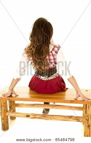 Woman Red Plaid Dress Back Sitting On Bench