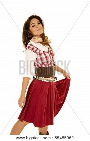 Woman Red Plaid Dress Hold Skirt Looking Proud