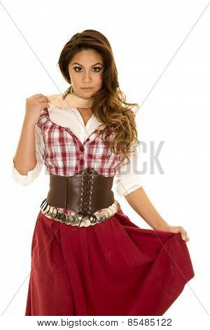 Woman Red Plaid Dress Holding Skirt Looking