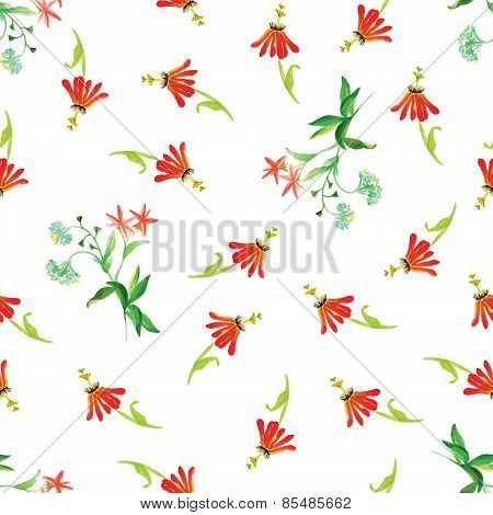 Tropical red flowers watercolor seamless vector print