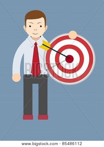 Successful man or teacher holding a target with arrow