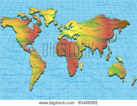 Background With World Map With Convex Structure