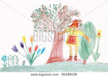 Child In A Spring Garden - Children Drawing