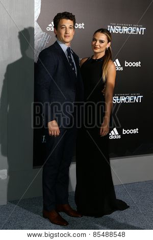 NEW YORK-MAR 16: Actor Miles Teller (L) and Keleigh Sperry attend the U.S. premiere of