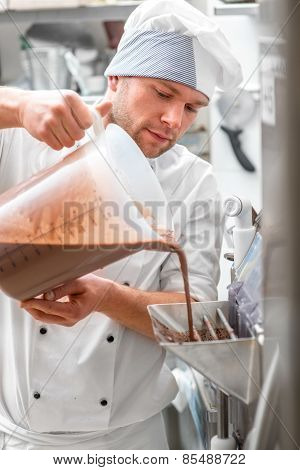 Confectioner making ice cream