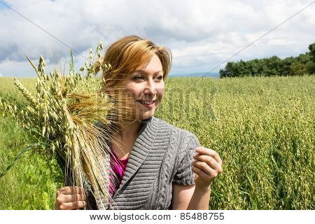 A Farmer With Different Cereals