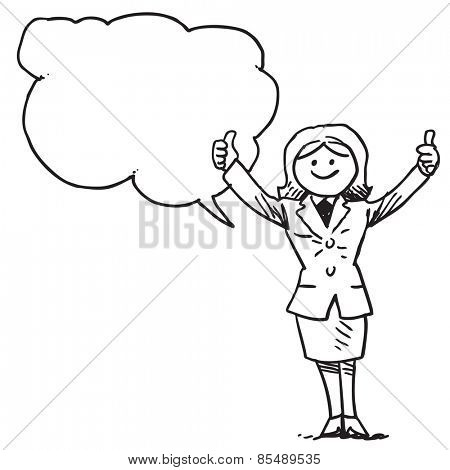 Businesswoman with thumbs up speaking