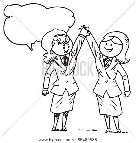 Businesswoman holding hands speaking