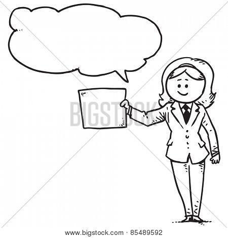 Businesswoman holding empty paper speaking