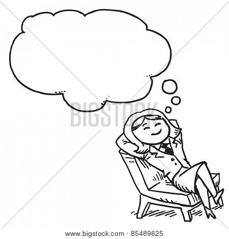 Businesswoman resting nad dreaming in chair