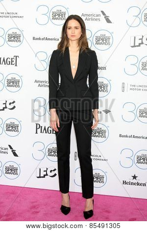 LOS ANGELES - FEB 21:  Katherine Waterston at the 30th Film Independent Spirit Awards at a tent on the beach on February 21, 2015 in Santa Monica, CA