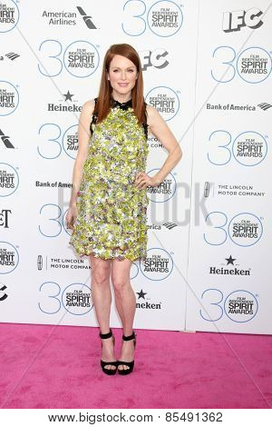 LOS ANGELES - FEB 21:  Julianne Moore at the 30th Film Independent Spirit Awards at a tent on the beach on February 21, 2015 in Santa Monica, CA