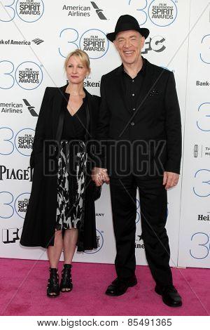 LOS ANGELES - FEB 21:  J.K. Simmons, Michelle Schumacher at the 30th Film Independent Spirit Awards at a tent on the beach on February 21, 2015 in Santa Monica, CA