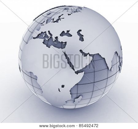 Silver globe art on the  white background