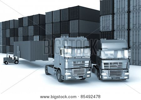 loading of containers on big  trucks in storage outdoors