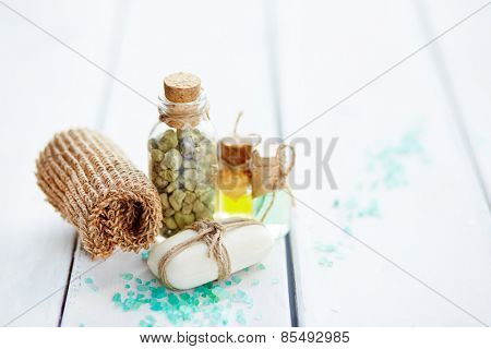 Sponge, soap and salt for bathroom