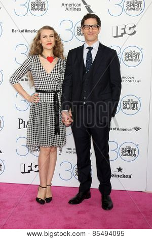LOS ANGELES - FEB 21:  Joanna Newsom, Andy Samberg at the 30th Film Independent Spirit Awards at a tent on the beach on February 21, 2015 in Santa Monica, CA