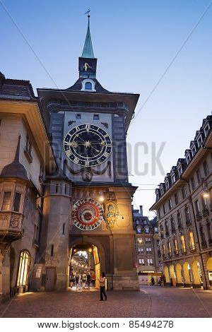Clock Tower In Bern City Center