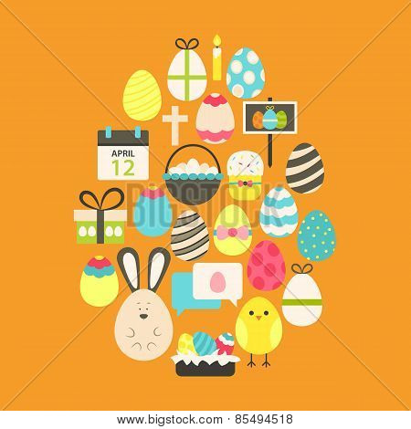 Easter Flat Icons Set Egg Shaped Over Orange