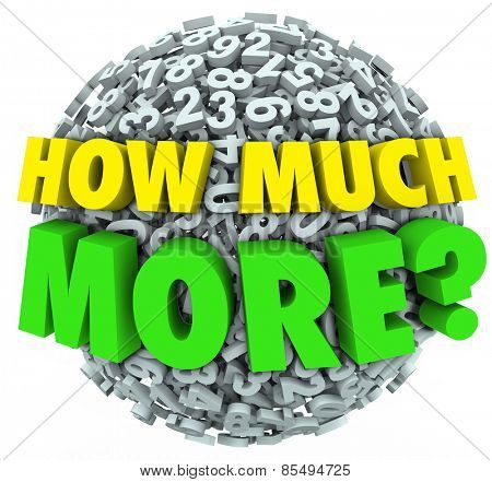 How Much More words asking your wants, needs, desires and cravings for additional quantities of objects such as food, or income like money, sales or income