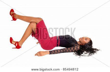 Black Woman Lying On Floor.