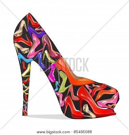 Women's Shoes With The Texture Of The Shoes On A White Background