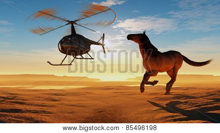 The  horse and a helicopter in the desert.